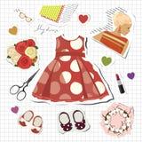 flicka little s-scrapbook Royaltyfria Foton