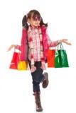 flicka little shopping royaltyfri foto