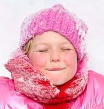 flicka little snow Arkivbild