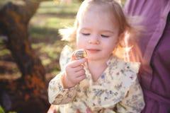 flicka little solnedgång royaltyfria bilder