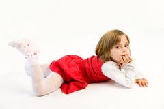 flicka little som är allvarlig Royaltyfri Bild