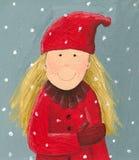 flicka little som är röd Arkivbilder