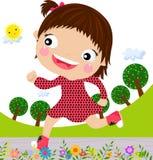 flicka little som kör Fotografering för Bildbyråer