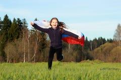 flicka little som är patriotisk Arkivbilder