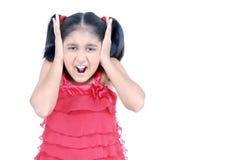 flicka little som skriker Arkivbilder