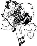 flicka little swing stock illustrationer