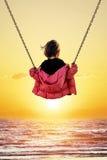 flicka little swing Royaltyfria Bilder