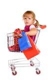 flicka little tröttad shopping Royaltyfri Fotografi