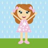 flicka little trevligt regn stock illustrationer