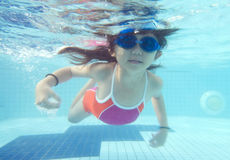 flicka little undervattens- simning Arkivbild