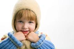 flicka little varm tröja royaltyfri foto