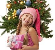 flicka lyckliga santa Arkivbild