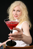 flicka martini Arkivfoton