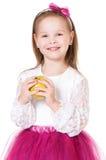 Flicka med äpplet Royaltyfria Foton
