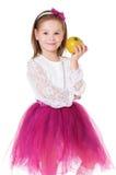 Flicka med äpplet Royaltyfri Foto