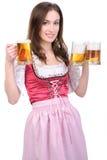 Flicka med öl royaltyfria foton