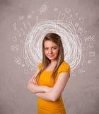 Flicka med abstrakta runda klotterlinjer och symboler Royaltyfri Fotografi