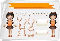 Flicka med ansiktsbehandling- och handuttryck vektor illustrationer