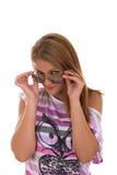 Flicka med att le för exponeringsglas Royaltyfri Foto
