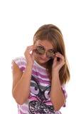 Flicka med att posera för exponeringsglas Royaltyfri Foto