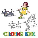 Flicka med att skälla hunden för färgläggningdiagram för bok färgrik illustration Royaltyfria Bilder