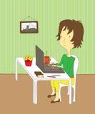 Flicka med bärbar dator Arkivbild