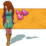 Flicka med ballonger Royaltyfri Bild