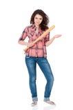 Flicka med baseballslagträet Arkivbilder