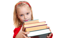 Flicka med böcker Fotografering för Bildbyråer