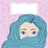 Flicka med blått hår med banret Royaltyfria Foton