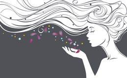 Flicka med blommakronblad stock illustrationer