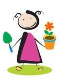 Flicka med blomman stock illustrationer