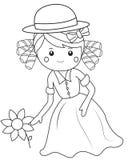 Flicka med blomman royaltyfri illustrationer
