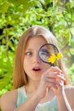 Flicka med blomman och förstoringsglaset Royaltyfri Fotografi