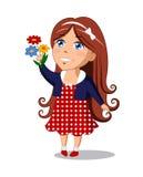 Flicka med blommor vektor illustrationer