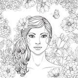 Flicka med blommor och fjärilen Arkivbilder