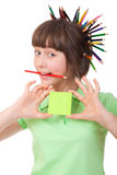 Flicka med blyertspennor Royaltyfri Fotografi