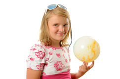 Flicka med bollen Royaltyfria Foton