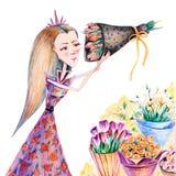 Flicka med buketter av tulpan, rosor, eustomaen och mimosan royaltyfri illustrationer