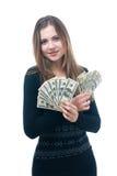 Flicka med bunten av pengar i henne händer fotografering för bildbyråer