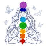 Flicka med 7 chakras stock illustrationer