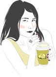 Flicka med citronjuice Arkivbild