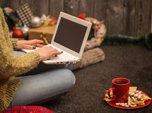 flicka med datorjuldekoren Royaltyfri Bild