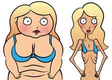 Flicka med den anorexy och överviktiga flickan Royaltyfria Bilder