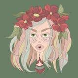Flicka med den färgrika hår- och blommakronan stock illustrationer