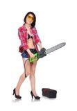 Flicka med den gröna chainsawen Royaltyfri Foto