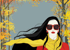 Flicka med den gula scarfen Royaltyfri Bild