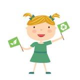 Flicka med den isolerade ecoflaggan Arkivbilder