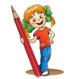 Flicka med den röda blyertspennan på vit Fotografering för Bildbyråer