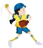 Flicka med den softballhandsken och bollen royaltyfri illustrationer